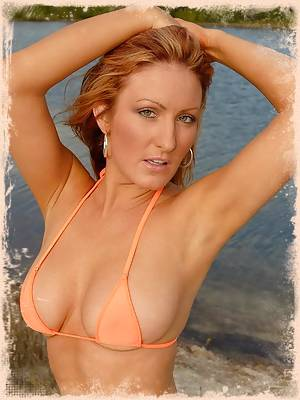 Leena looks gorgeous in her orange bikini