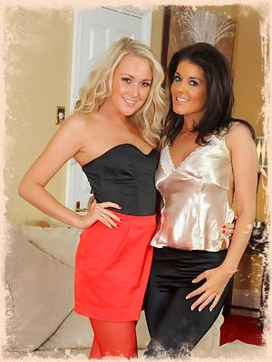 Lucy Anne and Kelly M both in silk tops and pantyhose
