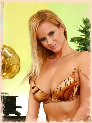 Raylene Richards in leopard print lingerie