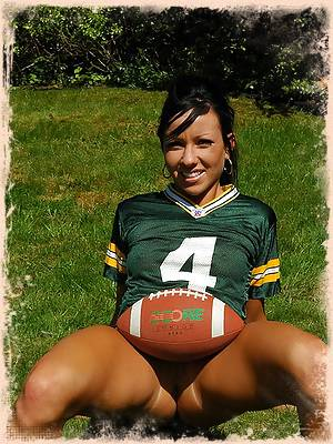 Trista plays ball in this sexy packers jersey