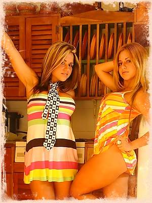 The twins peel off their sundresses to reveal their hot bodies