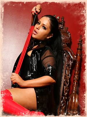 Where i belong; on my Throne calling all you pathetic minions to my feet. Teasing you with my dominant outfit and whip...just reminding you of how superior i am and how worthless you are!